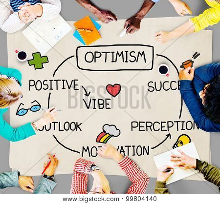poster of Optimism Positive Outlook Vibe Perception Vision Concept