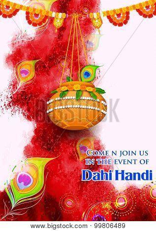 illustration of hanging dahi handi on Janmashtami background