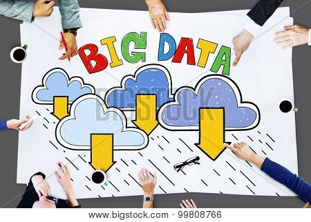 Big Data Storage Database Download Concept poster