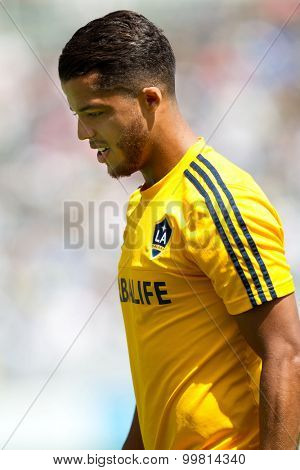 CARSON, CA. - AUG 23: Giovani Dos Santos during the L.A. Galaxy game against New York City FC on Aug 23, 2015 at the StubHub Center in Carson, California.