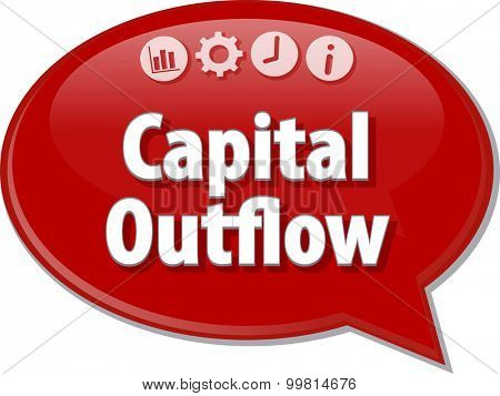Speech bubble dialog illustration of business term saying Capital Outflow