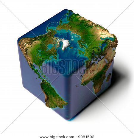 Earth as a cube with a shadow with a translucent water detailed relief map of the continents and oceans poster
