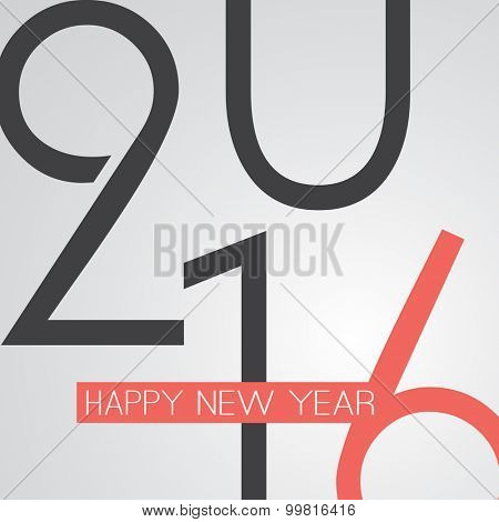 Best Wishes - Abstract Retro Style Happy New Year Greeting Card or Background, Creative Design Template - 2016