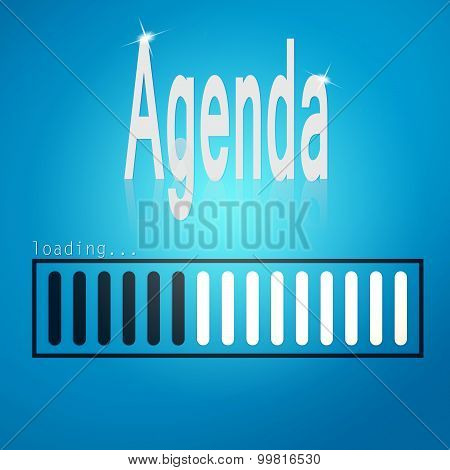 Blue loading bar with agenda word aimage with hi-res rendered artwork that could be used for any graphic design. poster
