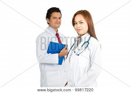 Asian Female Hispanic Male Doctors Team Smiling H