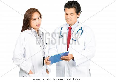 Diverse Male Female Doctor Team Mixed Listening