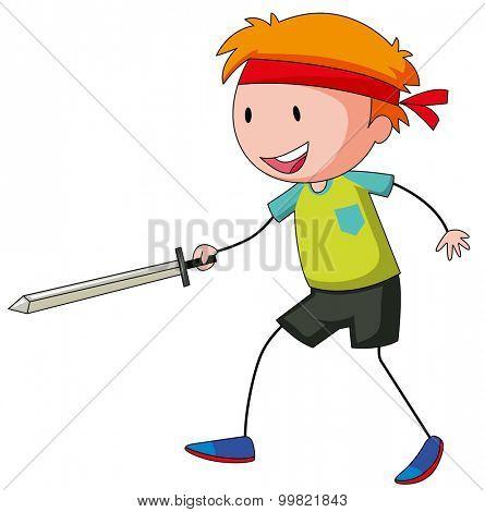 Little boy playing swordfight illustration