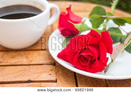 Cup Of Black Coffee In Home Garden