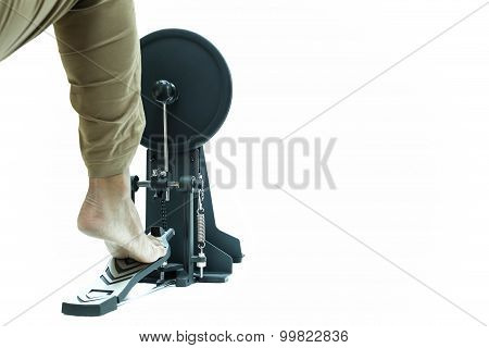 Man Playing A Base Drum Pedal Isolated