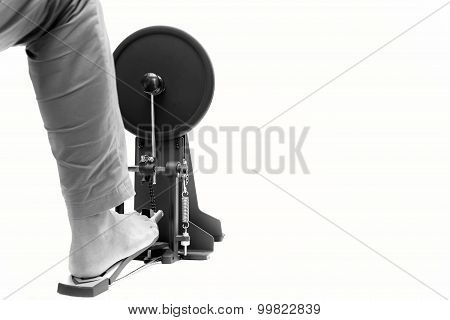 Man Playing A Base Drum Pedal Isolated Drum Pedal Isolated