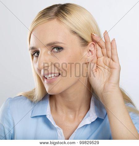 woman listening gossip