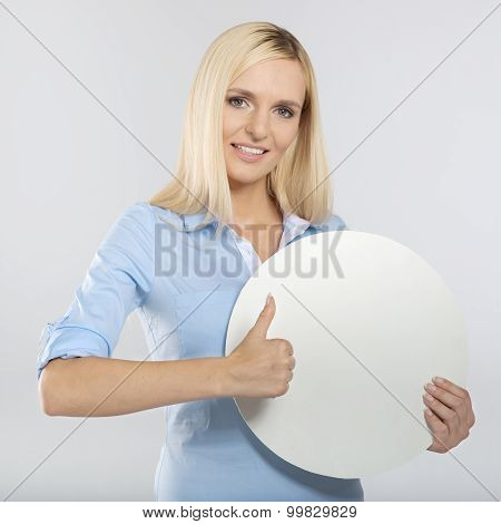 woman with board and showing thumb up sign