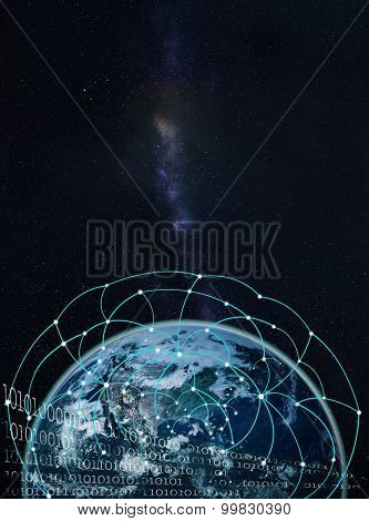 Global Network On Earth --elements Of This Image Furnished By Nasa-