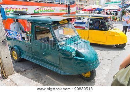 Ayutthaya Thailand  Auto rickshaw three-weeler tuk-tuk taxi driver For services to tourists