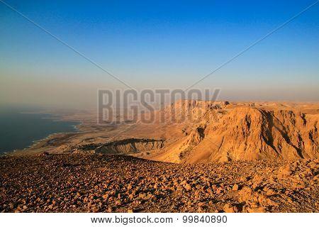 Ein Gedi Kibbuts And Reserve Near Dead Sea, Israel At Sunrise.