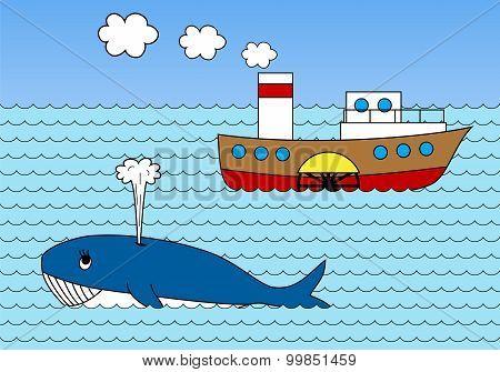 Steamship On Sea