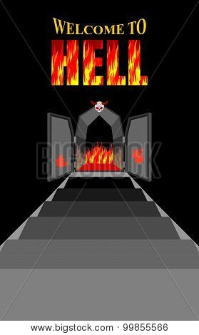 Welcome To Hell. Stairway To Hell. Iron Black Gates Of  Fiery Purgatory. Door To Devil, Satan. Stair