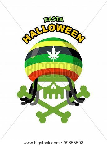 Rasta Halloween Night. Skull Addict With Dreadlocks And Bones. Colored Rasta Cap With Leaf Marihuann