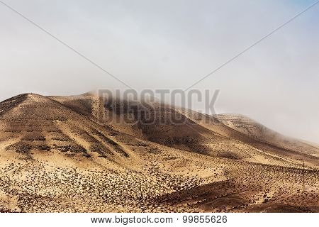 Sand Mountains Of  Fuerteventura In Area Costa Calma And Istmo De La Pared