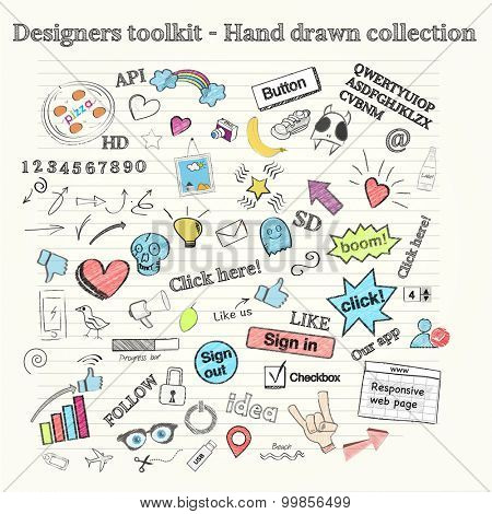 Large collection of hand drawn objects