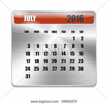 Monthly Calendar For July 2016 On Metallic Plate Color
