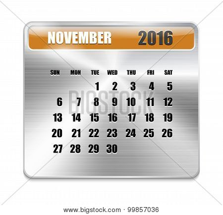 Monthly Calendar For November 2016 On Metallic Plate Color