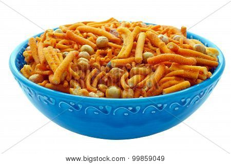 Bombay Mix In Blue Bowl