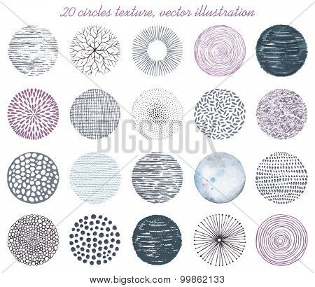 Collection of Twenty circles texture, abstraction vector illustration.