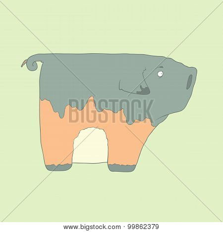 Flat hand drawn icon of a cute pig