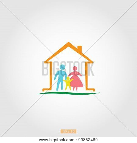 Logo home with a happy family, vector