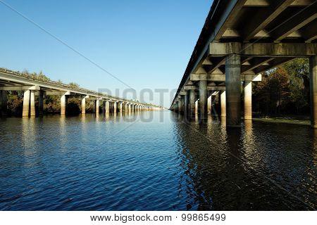 The Atchafalaya Basin Bridge and the Interstate 10 (I-10) highway over Louisiana bayou
