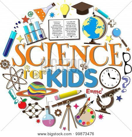 Science for kids. School symbols and design elements isolated on white background. Vector illustrati