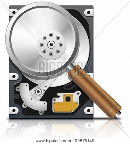 Vector Hdd And Magnifying Glass Front View