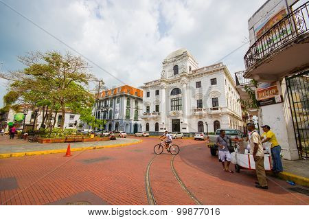 Panama, Panama - April 16, 2015:  Street View Of The Recentry Restaurated Historic Quarter Of Panama