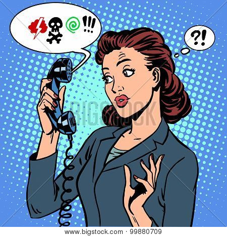 Dangerous talk phone communication viruses business woman abuse