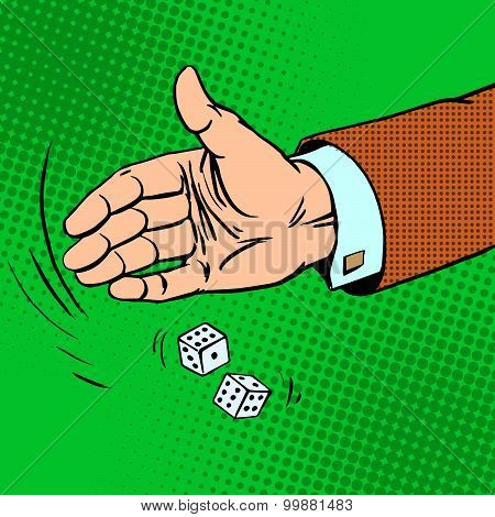 Case the die is dice throwing hand business concept