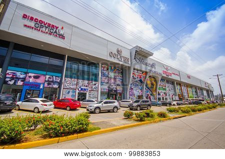 COLON PANAMA - APRIL 15 2015: The Colon Free Trade Zone is a large entity near the Atlantic entrance to the Panama Canal poster