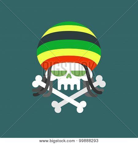 Rasta Skull. Skull Addict With Dreadlocks And Bones. Dead From Drugs. Colored Rasta Cap. Vector Illu