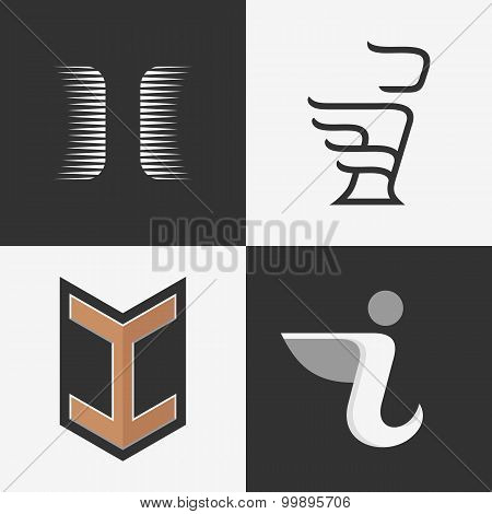 The set of letters I signs, icon design templates elements.