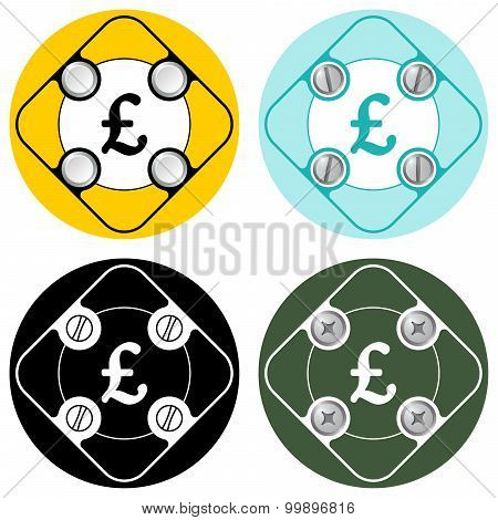 Set of four colored flat simple frames and pound sterling symbol poster