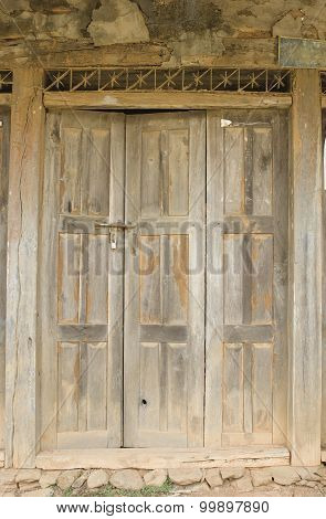 The Old Door With Cracked Paint, Background