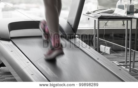 Unknown Woman Running In Gym