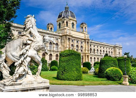 Vienna Austria. Beautiful view of famous Naturhistorisches Museum (Natural History Museum) with park Maria-Theresien-Platz and sculpture in Vienna Austria