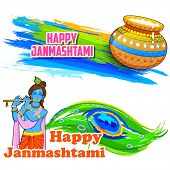 illustration of colorful banner with dahi handi and Krishna for Janmashtami background poster