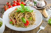 Pasta with Milan pesto - basil with nuts and permesan garlic and olive oil delicious and genial food. poster