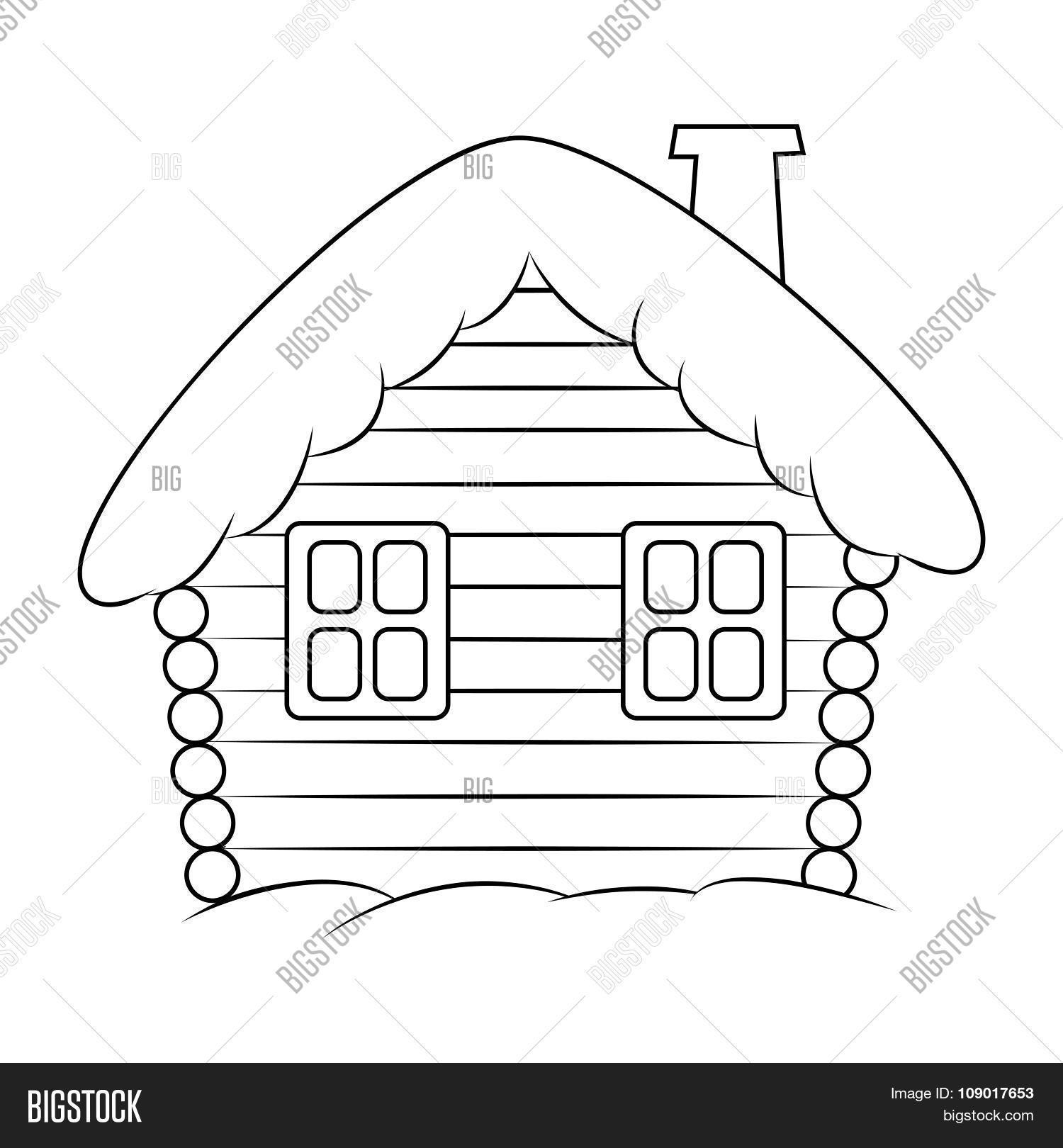 House With Snow Cartoon Silhouette Illustration Winter Snowy Christmas Home Cottage Isolated On Wh