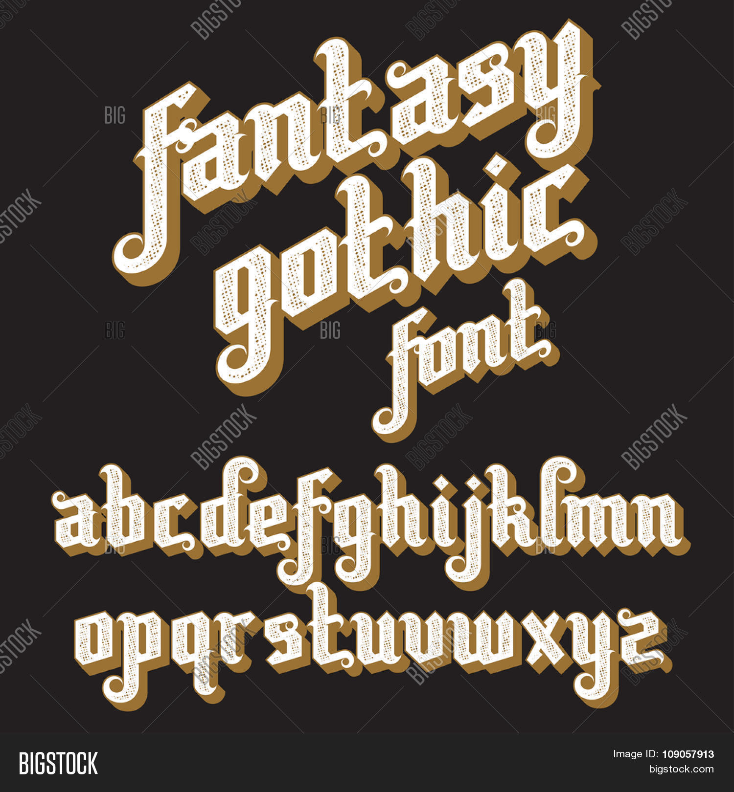 Fantasy Gothic Font Retro Vintage Alphabet Custom Type Letters On A Dark Background