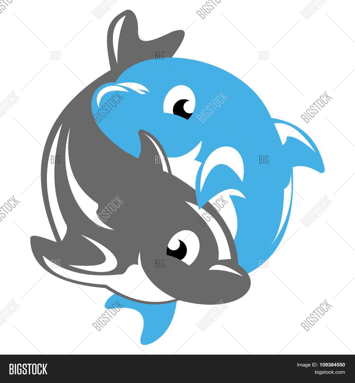 dolphin yin yang vector photo free trial bigstock rh bigstockphoto com Baby Dolphin Yin Yang Silhouette Dolphin Yin Yang Tattoo Designs