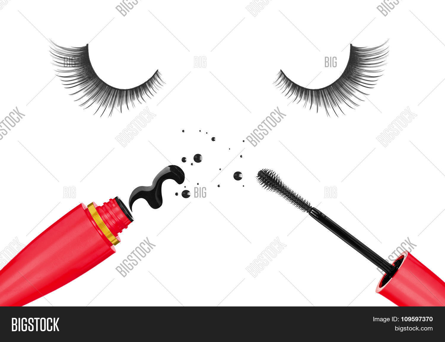 f88e478676c False Eyelashes And Mascara In The Red Tube Isolated On White Background