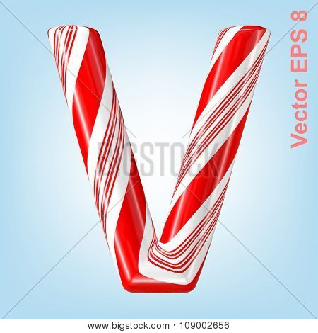 Mint hard candy cane vector alphabet collection striped in Christmas colours. Letter V. Eps 8 using mesh.